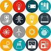 Векторный клипарт: Набор энергетики иконок в плоском стиле дизайна
