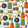 Nahtlose Muster mit Musikinstrumenten in Flach
