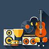 Векторный клипарт: Фон с музыкальными инструментами в плоском исполнении