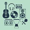 Набор музыкальных инструментов в плоском стиле дизайна | Векторный клипарт