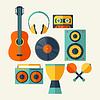 Векторный клипарт: Набор музыкальных инструментов в плоском стиле дизайна
