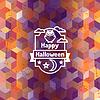 Happy Halloween-Grußkarte mit Symbolen Abzeichen ang