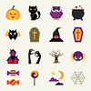 Happy Halloween Icon-Set in flachen Design-Stil