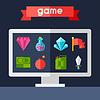 Hintergrund mit Spiel-Icons im Flat-Design-Stil