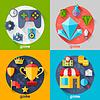 Векторный клипарт: Фон с игровыми иконок в плоской стиль дизайна