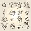 Векторный клипарт: Набор Веселые рождественские иконки и объекты