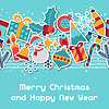 Векторный клипарт: С Рождеством и Новым Годом пригласительный билет