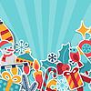 С Рождеством и Новым Годом пригласительный билет | Векторный клипарт