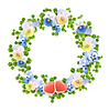 Blumenkranz mit Blumen, Herzen | Stock Vektrografik