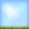 Zielona trawa błękitne niebo naturalne tło | Stock Vector Graphics