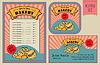 Vintage Bäckerei-Labels-Auflistung