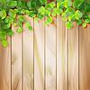 Grüne Blätter auf Holz Textur. Hintergrund | Stock Vektrografik