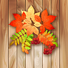 Векторный клипарт: Осенний фон с листьями на текстуру древесины