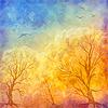 Векторный клипарт: живопись маслом осенние деревья, летающие птицы