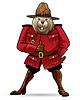 Векторный клипарт: Бивер в канадской рейнджера костюме