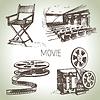 Film-und Kino-Set. Vintage-s
