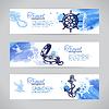 Set von Reise Banner. Sea nautischen Design. Skizze