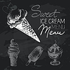 Ice creame Tafel-Design Set. Schwarze Kreide