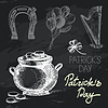 St. Patrick `s Day Tafel-Design Set. Schwarze Kreide