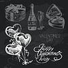 Valentine `s Day Tafel-Design Set. Schwarze Kreide