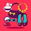 Einkaufen flaches Design. Set der Mode Frauen Symbole.