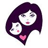Mutter und Baby Silhouetten. Karte von Happy