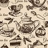 Tee und Kuchen nahtlose Muster. skizzieren. M