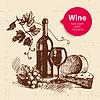 Wein-Jahrgang Hintergrund mit Banner. Skizze