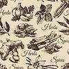 ID 4298336 | Nahtlose Muster der Küchenkräuter und Gewürze. Skizze | Stock Vektorgrafik | CLIPARTO