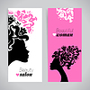 Banners of beautiful women silhouettes with flowers   Stock Vector Graphics