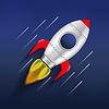 Rakete im Weltraum