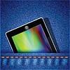 청바지 배경에 태블릿 컴퓨터 | Stock Vector Graphics
