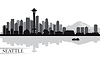 Miasto Seattle skyline, sylwetka, tło | Stock Vector Graphics