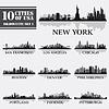 Silhouette Stadt Reihe von USA