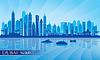 Dubai Marina City Skyline Silhouette Hintergrund | Stock Vektrografik