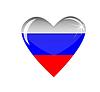 Сердце с флагом России | Векторный клипарт