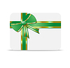 Greeting-card with green bow and mestome for text | Stock Vector Graphics