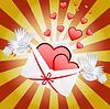 Два белых голубя осуществляется конверт с сердечками | Векторный клипарт