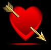 Herz mit einem Pfeil, Post zu Tag des Heiligen durchbohrt