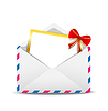 Под открытым небом конверт с поздравительной открытку вовнутрь | Векторный клипарт