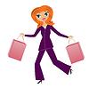 junge Geschäftsfrau mit Kauf beeilen Hause