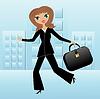 junge Frau auf der Arbeit beeilen