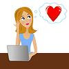 junge Geschäftsfrau im Büro denkt über die Liebe