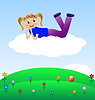 fröhlich Mädchen liegen auf Wolke