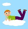 fröhliche Junge liegen auf Wolke