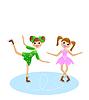 zwei fröhliche Mädchen strebt Laufwerk im schönen Kleid