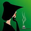 geheimnisvollen Fremden im schwarzen Hut