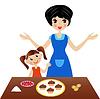 Mutter mit kleiner Tochter bereiten leckere Kuchen