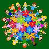 Kleines Kind runden Blumen Planeten stehen | Stock Vektrografik