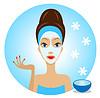 junge Frau mit Kosmetik-Maske auf Gesicht